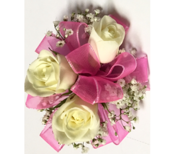 White Spray Rose w/Pink child's wrist corsage in Wyoming MI, Wyoming Stuyvesant Floral