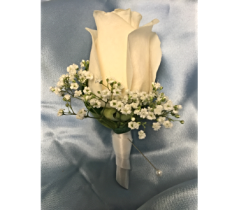 White Rose Boutonniere Wrapped with Ribbon in Bethesda MD, Suburban Florist