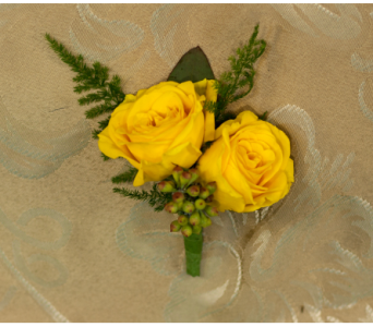Yellow Mini Rose Boutonniere in Merrick NY, Feldis Florists