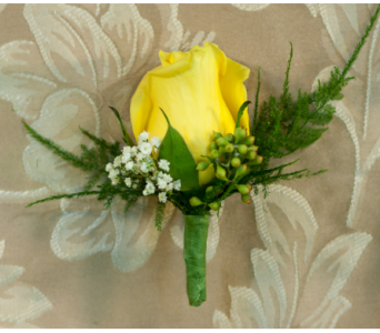 Yellow Rose Boutonniere in Merrick NY, Feldis Florists
