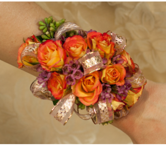 Orange Mini Rose Corsage in Merrick NY, Feldis Florists