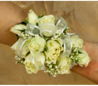 White Mini Rose Corsage in Merrick NY, Feldis Florists