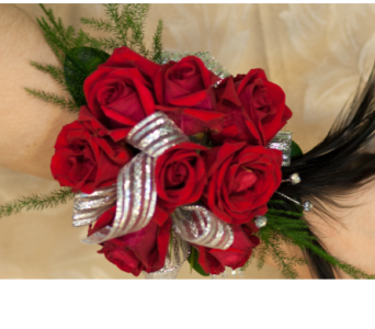 Mini Red Roses and Feathers Corsage in Merrick NY, Feldis Florists
