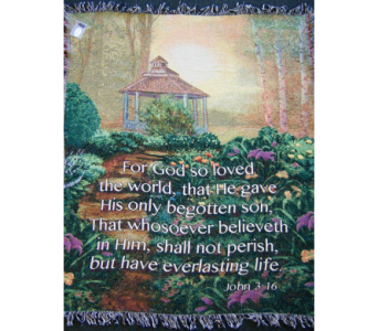 Gazebo - John 3:16 Woven Throw in Tipp City OH, Tipp Florist Shop