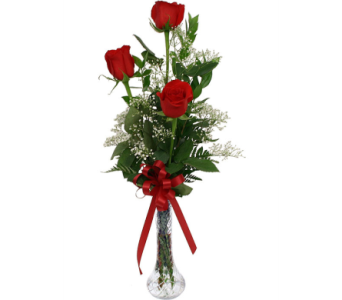 3 Roses in Vase in Madison ME, Country Greenery Florist & Formal Wear