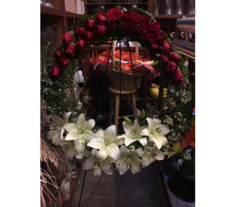 Rose and Lily Sympathy Wreath in Santa Cruz CA, Shay's Flowers