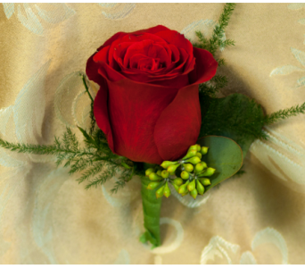 Red Rose Boutonniere in Merrick NY, Feldis Florists
