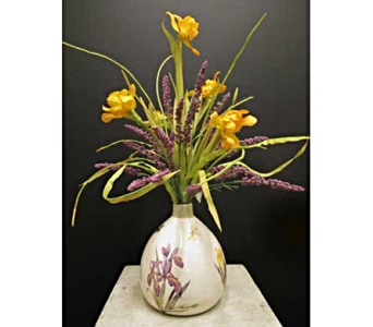 Yellow Iris and Lavender in Amherst NY, The Trillium's Courtyard Florist