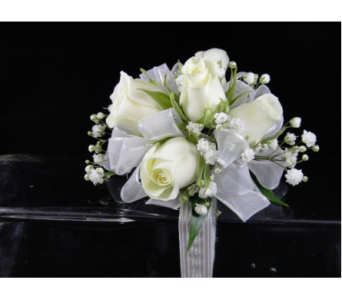 White Spray Rose Corsage in Greenville SC, Expressions Unlimited