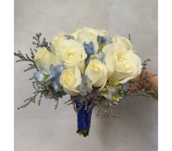 Hand-Tied White Roses With Blue in Philadelphia PA, Schmidt's Florist & Greenhouses