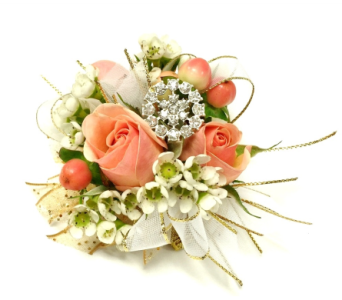Vintage Blush Wrist Corsage in Schofield WI, Krueger Floral and Gifts