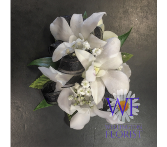 White Orchid Wristlet with Black Trim in Wellington FL, Wellington Florist