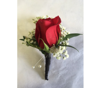 Red Rose Boutonniere With Wrapped Stem in Philadelphia PA, Schmidt's Florist & Greenhouses