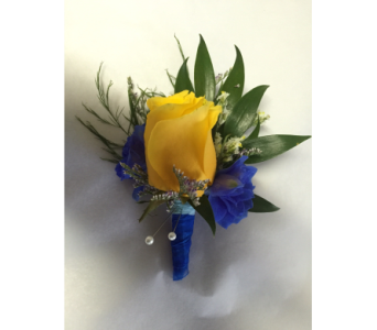 Yellow Rose Boutonniere With Blue in Philadelphia PA, Schmidt's Florist & Greenhouses