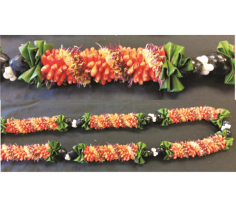 Lei26 Orange Cigar with Kukui Nut and Ti Leaf in Mililani Town HI, Mililani Town Florist