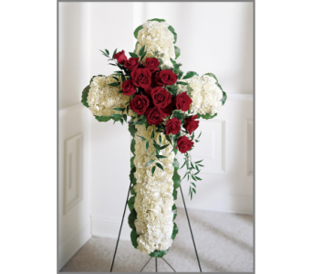 Red and White Floral Cross in Bowmanville ON, Van Belle Floral Shoppes
