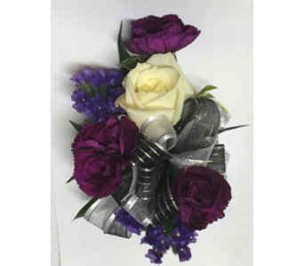 Plum & Purple with Sweetheart Wrist Corsage in Wyoming MI, Wyoming Stuyvesant Floral