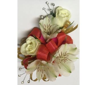White Flowers with Dark Coral & Gold Wrist Corsage in Wyoming MI, Wyoming Stuyvesant Floral