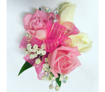 Pink & White Roses with Iridescent Wrist Corsage in Wyoming MI, Wyoming Stuyvesant Floral