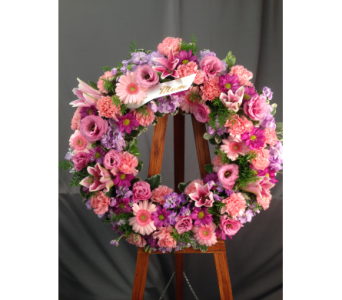 Purple and Pink Wreath in Bowmanville ON, Van Belle Floral Shoppes
