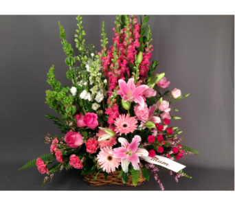 Lily & Pink Basket Arrangement in Bowmanville ON, Van Belle Floral Shoppes
