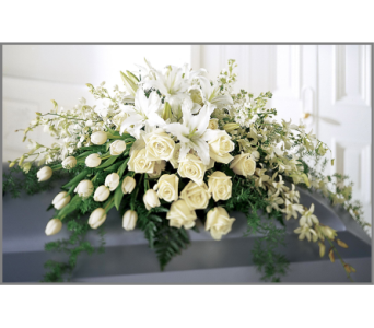 Elegant Remembrance Casket Spray in Bowmanville ON, Van Belle Floral Shoppes