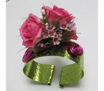 Pink & Green Corsage in Traverse City MI, Teboe Florist