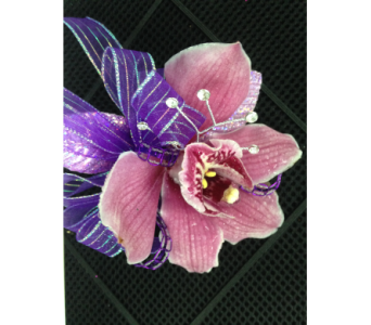 Single purple cymbidium pin on corsage in Gainesville FL, Floral Expressions Florist
