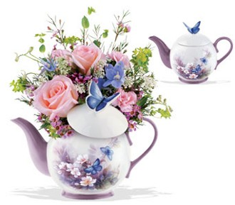 FF160  Assorted Teapot Bouquets in Oklahoma City OK, Array of Flowers & Gifts