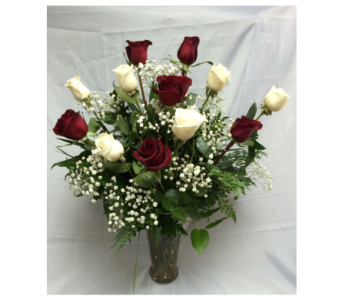 Doze Red & White Roses in Modesto CA, Flowers By Alis