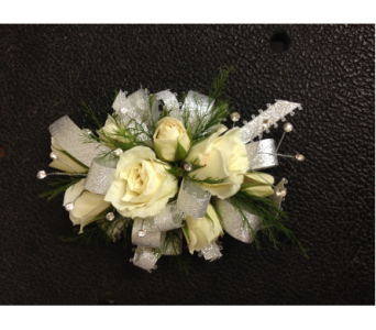 Prom Corsage-White SprayRoses, Greens, Silver Bow in Newton NC, Newton Florist