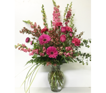 Hot Pink Garden - 11 inch Garden Vase - One-Sided in Wyoming MI, Wyoming Stuyvesant Floral