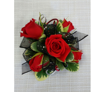Prom corsages boutonnieres delivery belleville on barbers bold and beautiful corsage in belleville on barbers flowers ltd mightylinksfo
