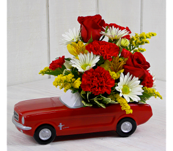 1965 Vintage Ford Mustang w/Flowers in Indianapolis IN, Steve's Flowers and Gifts