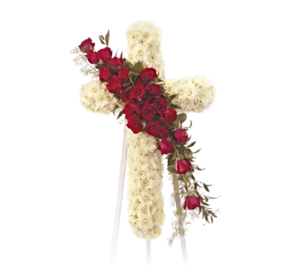 Cross with Rose Spray in Herndon VA, Herndon Florist, Inc