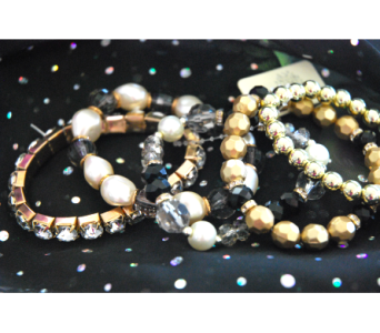 Gold and Black Beaded Bracelets  in Manhattan KS, Westloop Floral