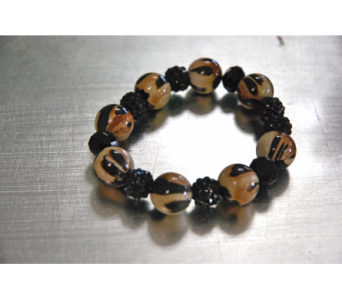 Tan and Black Beaded Bracelet in Manhattan KS, Westloop Floral