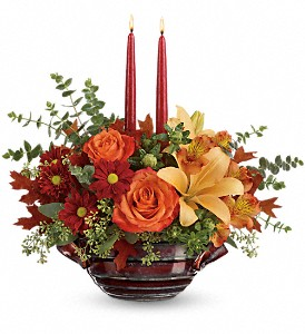 Teleflora's Autumn Gathering Centerpiece in Grass Lake MI, Designs By Judy