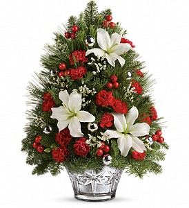 Teleflora's Festive Trimmings Tree in Grass Lake MI, Designs By Judy