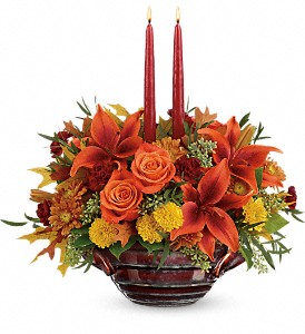 Teleflora's Rich And Wondrous Centerpiece in Santee CA, Candlelight Florist