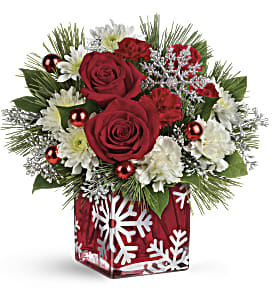 Teleflora's Silver Christmas Bouquet in Palm Desert CA, Milan's Flowers & Gifts