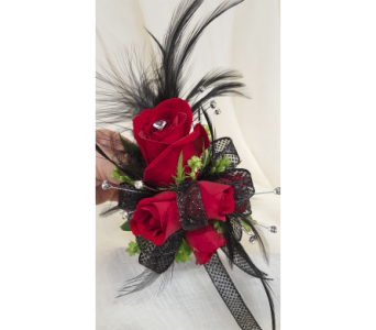 Feathery Red Corsage in Newburgh NY, Foti Flowers at Yuess Gardens