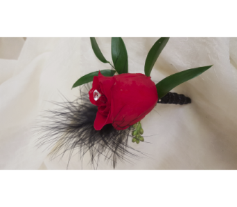 Feathery Red Boutonniere in Newburgh NY, Foti Flowers at Yuess Gardens
