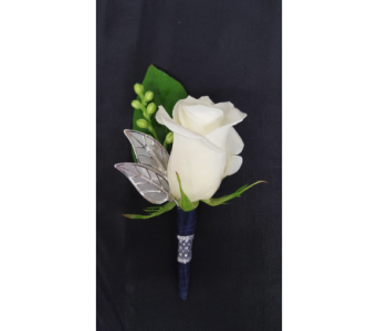 White Rose Boutonniere in Newburgh NY, Foti Flowers at Yuess Gardens