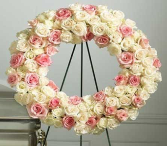 Pastel Love Wreath in Bellevue WA, CITY FLOWERS, INC.