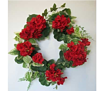 Red Geranium Wreath in Amherst NY, The Trillium's Courtyard Florist