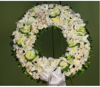 Loving White Wreath in Merrick NY, Feldis Florists