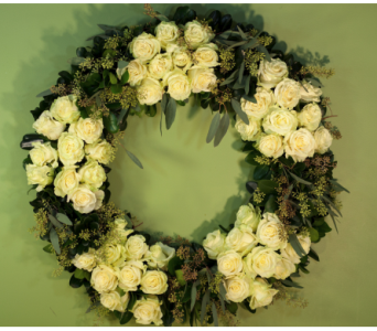 Feldis White Rose Signature Wreath in Merrick NY, Feldis Florists