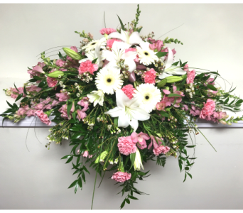 Shades of Pink and White Casket Spray in Wyoming MI, Wyoming Stuyvesant Floral