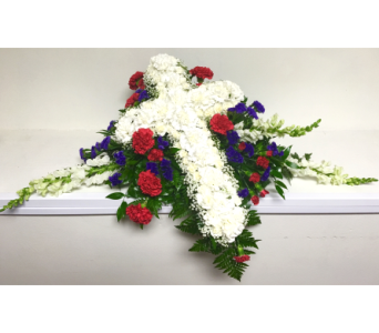 Casket Spray with White Cross Funeral Collection in Wyoming MI, Wyoming Stuyvesant Floral